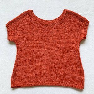 Hinge Short-Sleeves Cable-Knit Top Red-Ora…